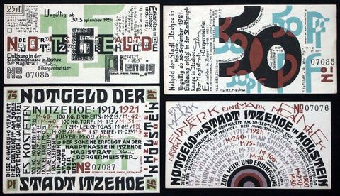 ITZEHOE 1921 Incredible Modernist Art!! Complete series German Notgeld Look!