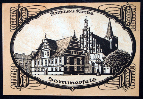 "SOMMERFELD 1920 ""Rathaus and Church"" 10 Pf Notgeld Germany today Lubsko, Poland"
