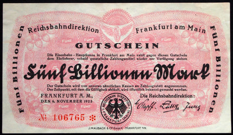 FRANKFURT 1923 5 Trillion Mark Railroad Inflation Notgeld German Banknote