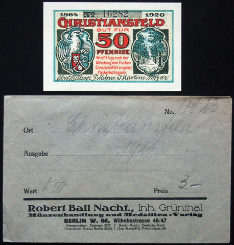 CHRISTIANSFELD 1920 complete series w/rare Robert Ball envelope! German-Danish Notgeld