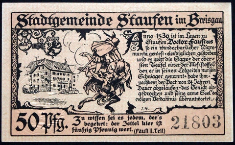 "STAUFEN 1920 ""Devil Carrying Faust to Hell"" 50 Pf circulating German Notgeld"