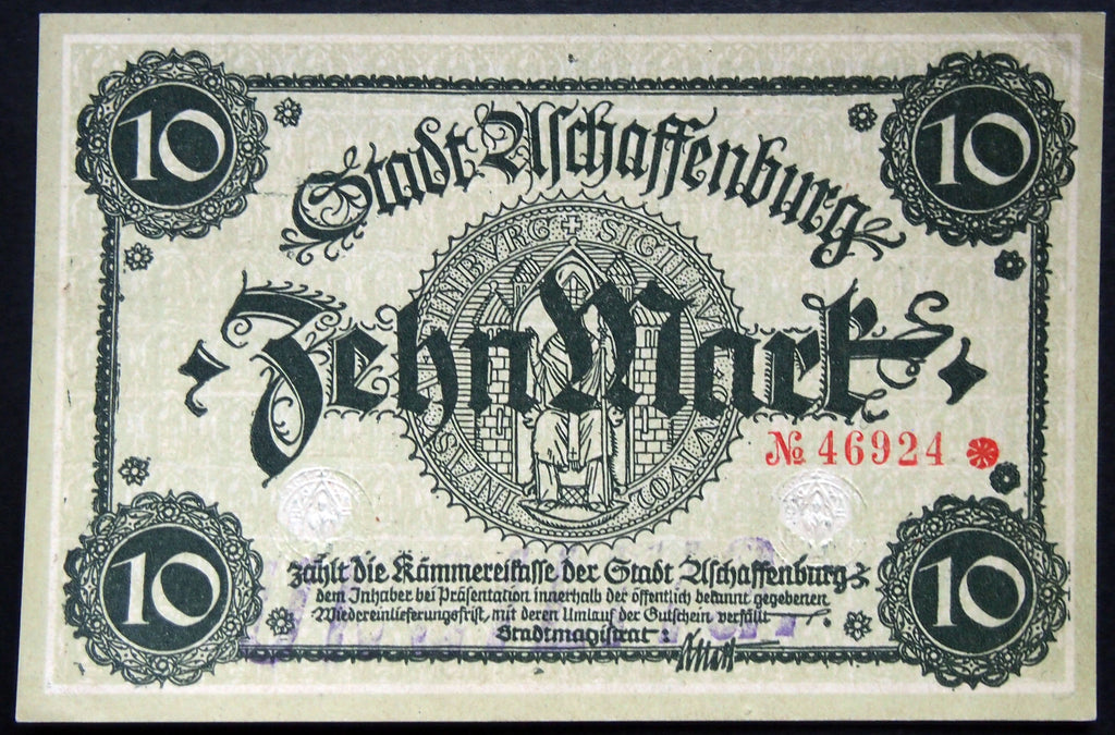 ASCHAFFENBURG 1918 10 Mark Grossnotgeld German Notgeld Banknote 46924