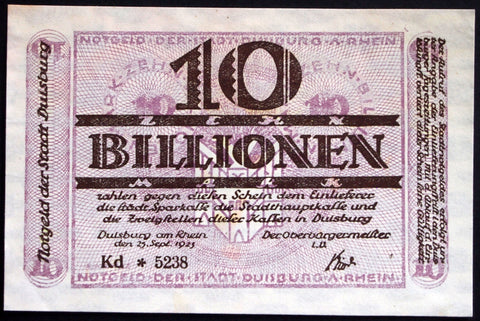 DUISBURG 1923 10 Trillion Mark Inflation Notgeld German Banknote