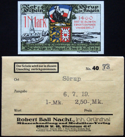 SÖRUP 1920 1 Mark w/rare Robert Ball envelope! German Notgeld