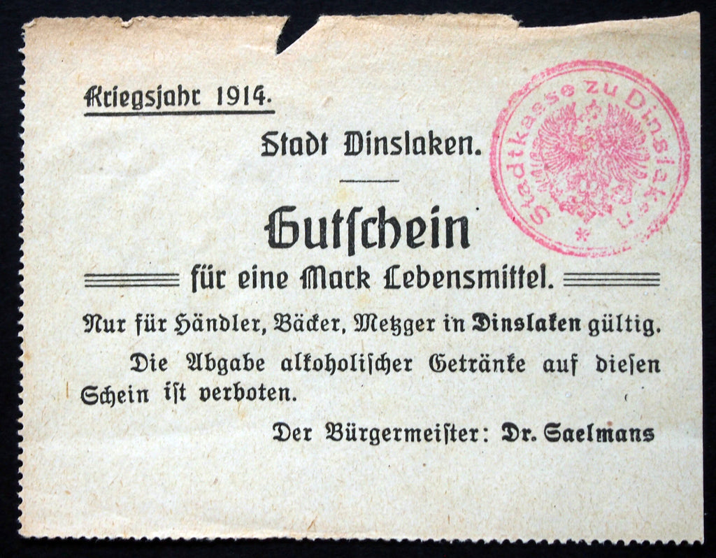 DINSLAKEN rare red stamp, original 1914 issue! German Notgeld Early WWI
