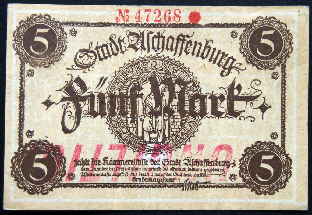 ASCHAFFENBURG 1918 5 Mark Grossnotgeld German Notgeld Banknote 47268