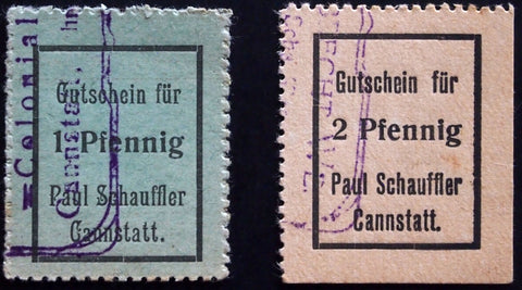 "CANNSTATT ""Paul Schauffler Colonial Goods"" small cardboard Notgeld complete Germany"