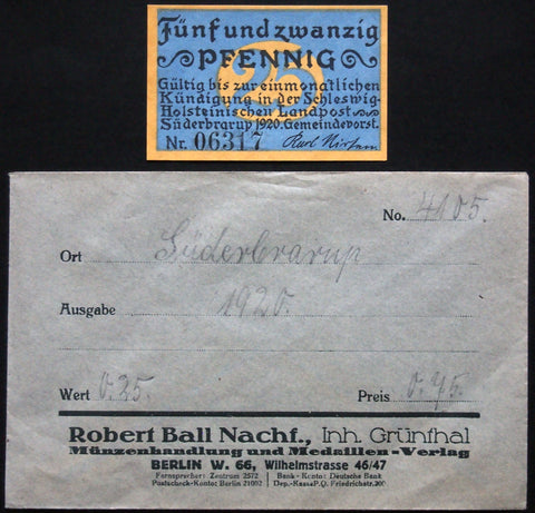SÜDERBRARUP 1920 25 Pf w/rare Robert Ball envelope! German Notgeld