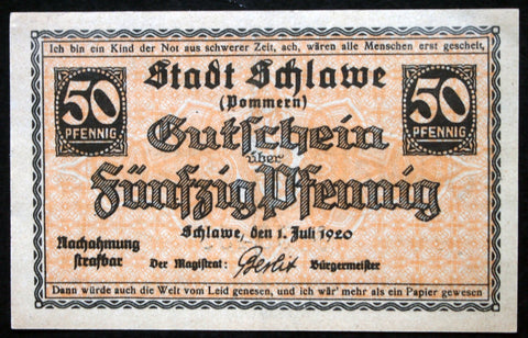 SCHLAWE 1920 50 Pf circulating German Notgeld Pommern today Poland