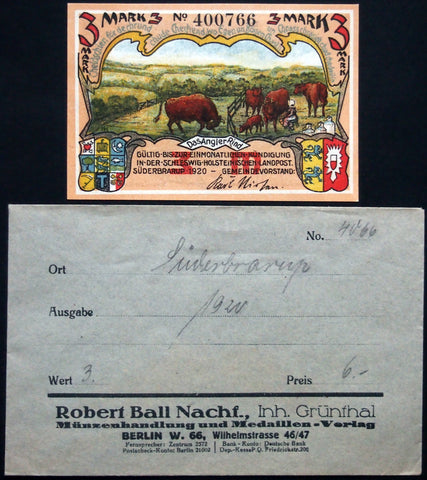 "SÜDERBRARUP 1920 ""Cows & Beef Cattle"" 3 Mark w/rare Robert Ball envelope! German Notgeld"