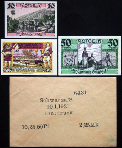 SCHWARZA 1921 complete color series in RARE Robert Ball Envelope! German Notgeld