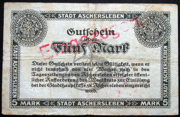 ASCHERSLEBEN 1918 5 Mark Grossnotgeld German Notgeld Banknote 37298