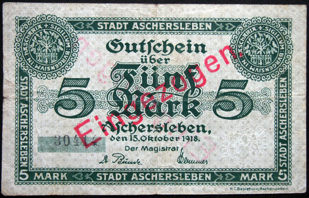 ASCHERSLEBEN 1918 5 Mark Grossnotgeld German Notgeld Banknote 30414