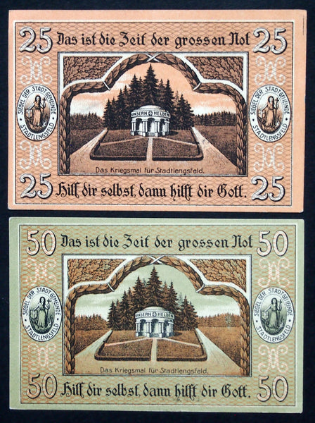 "STADTLENGSFELD 1919 ""Help Yourself and God Helps You"" complete set circulating Notgeld Germany"