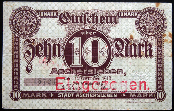 ASCHERSLEBEN 1918 10 Mark Grossnotgeld German Notgeld Banknote 18723