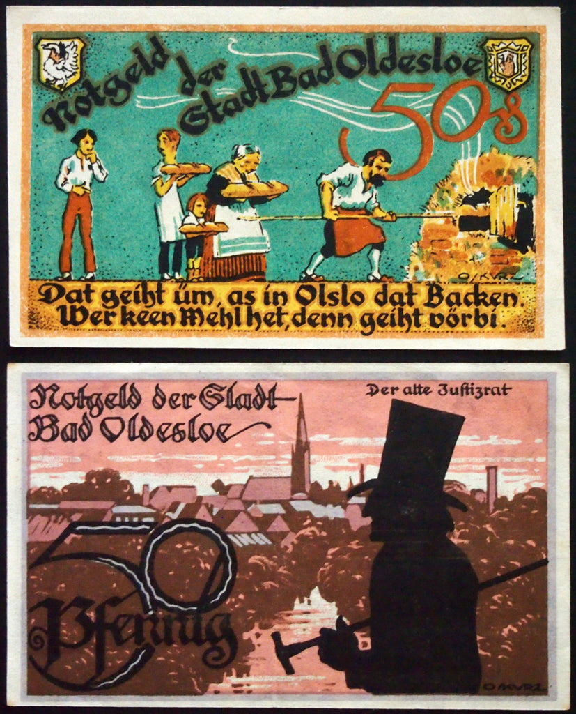"BAD OLDESLOE 1921 ""Salt, Mud, and Sulfur Baths"" nice 1969 serial! Notgeld complete"