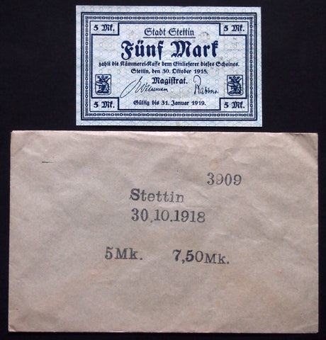 STETTIN 1918 5 Mark Grossnotgeld in rare Robert Ball envelope! German Notgeld Poland