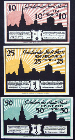 "STADE 1920 ""Sunrise"" complete set circulating German Notgeld"