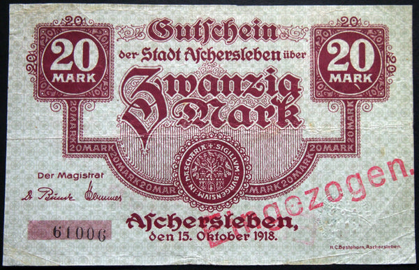 ASCHERSLEBEN 1918 20 Mark Grossnotgeld German Notgeld Banknote 61006