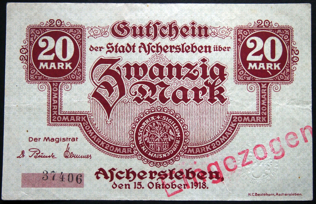 ASCHERSLEBEN 1918 20 Mark Grossnotgeld German Notgeld Banknote 37406