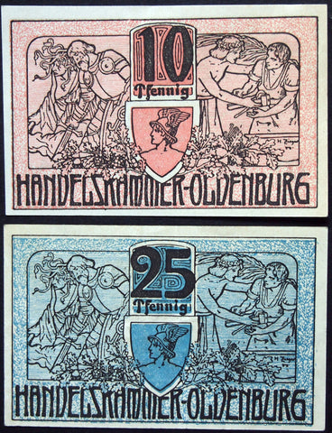 OLDENBURG 1918 complete set circulating Notgeld Germany