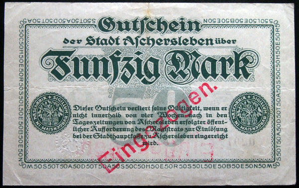 ASCHERSLEBEN 1918 50 Mark Grossnotgeld German Notgeld Banknote 02977