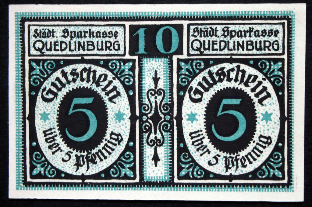 "QUEDLINBURG double-note ""Roland"" 5+5Pf German Notgeld ND (ca. 1921)"