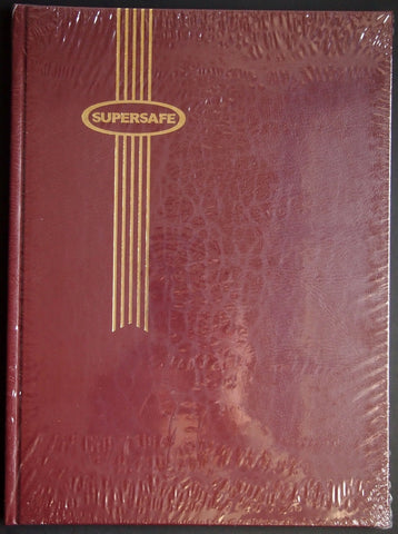 Hardcover Notgeld Album Maroon 32 Black Pages Clear Rows Supersafe Stockbook 9x12
