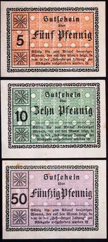 "FESTENBERG ""Colonial Goods Dealer Cooperative"" rare complete set! Schlesien German Notgeld"