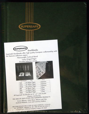 Hardcover Notgeld Album Green 64 Black Pages Clear Rows Supersafe Stockbook 9x12