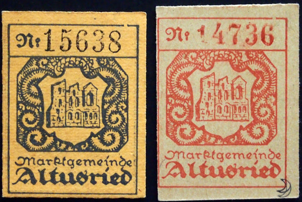 ALTUSRIED 1920 small, thicker cardboard Notgeld complete set Germany Bavaria 2