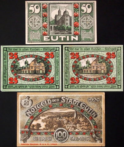 "EUTIN 1920 ""Roses"" complete series w/both 25 Pf shades of green German Notgeld"