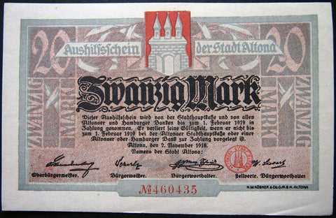 ALTONA (HAMBURG) 1918 20 Mark Grossnotgeld German Notgeld Banknote 460435