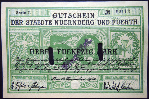 NÜRNBERG and FÜRTH 1918 50 Mark Grossnotgeld German Banknote Nuremberg