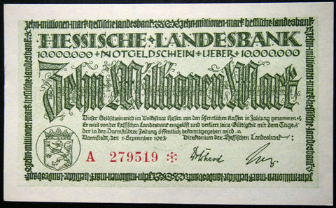 "DARMSTADT 1923 ""Hessische Landesbank"" 10 Million Mark Inflation Notgeld Germany"