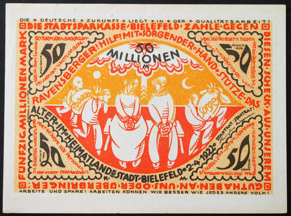 BIELEFELD 1923 50 Million Mark Inflation Notgeld German Banknote Uncanceled