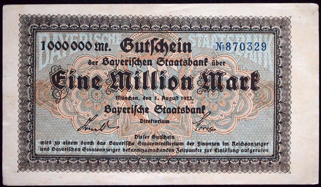 "BAVARIA 1923 ""Bayerische Staatsbank"" 1 Million Mark Inflation Notgeld Banknote Germany"