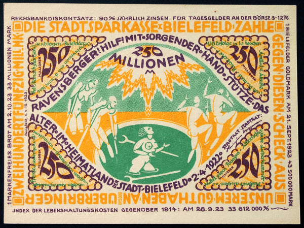 "BIELEFELD 1923 ""Healing Nudes"" 250 Million Mk Inflation Notgeld German Banknote"