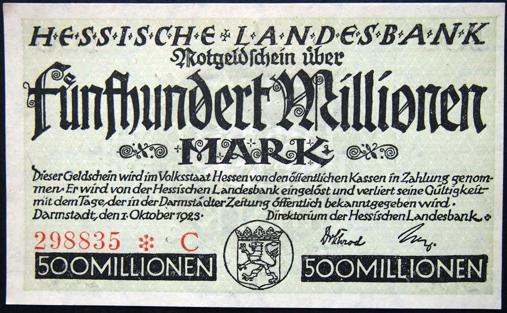"DARMSTADT 1923 ""Hessische Landesbank"" 500 Million Mark Inflation Notgeld Germany"