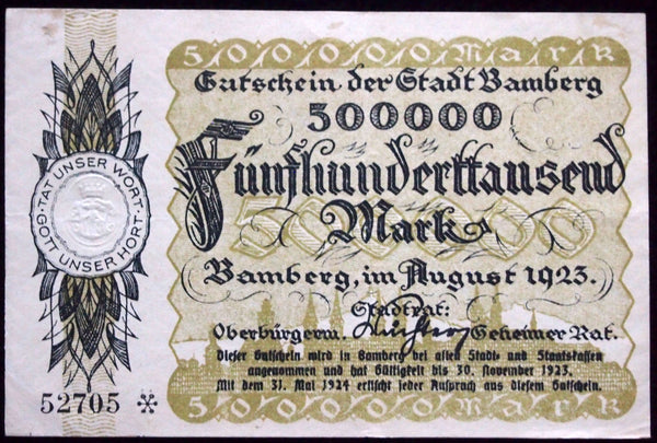 "BAMBERG 1923 ""Inflation Prices Poem"" 500,000 Mark Inflation Notgeld Banknote Germany"
