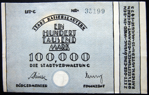 KAISERSLAUTERN 1923 100,000 Mark Notgeld Germany