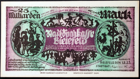 BIELEFELD 1923 25 Billion Mark Inflation Notgeld Germany 25 Milliarden