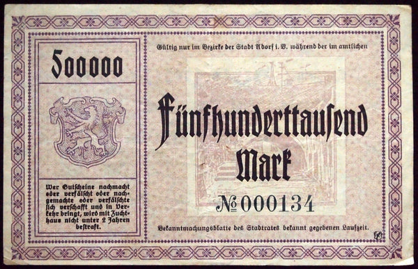 ADORF 1923 500,000 Mark low-serial number 000134! Inflation Notgeld Germany