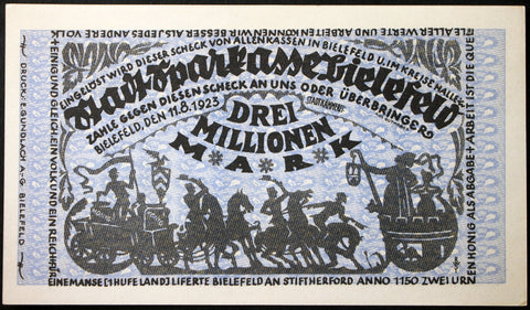 BIELEFELD 1923 3 Million Mark Inflation Notgeld Germany