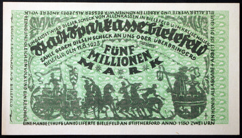 BIELEFELD 1923 5 Million Mark Inflation Notgeld Germany
