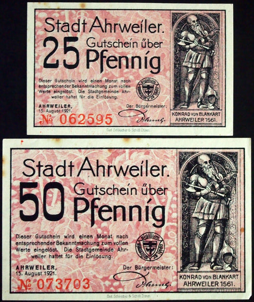 "AHRWEILER 1921 ""If Only We Could Give Silver"" complete red-violet German Notgeld"