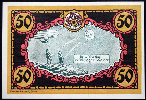 "BAD WILDUNGEN 1921 *rare* ""Lunar Urination"" note w/MARGIN! German Notgeld"