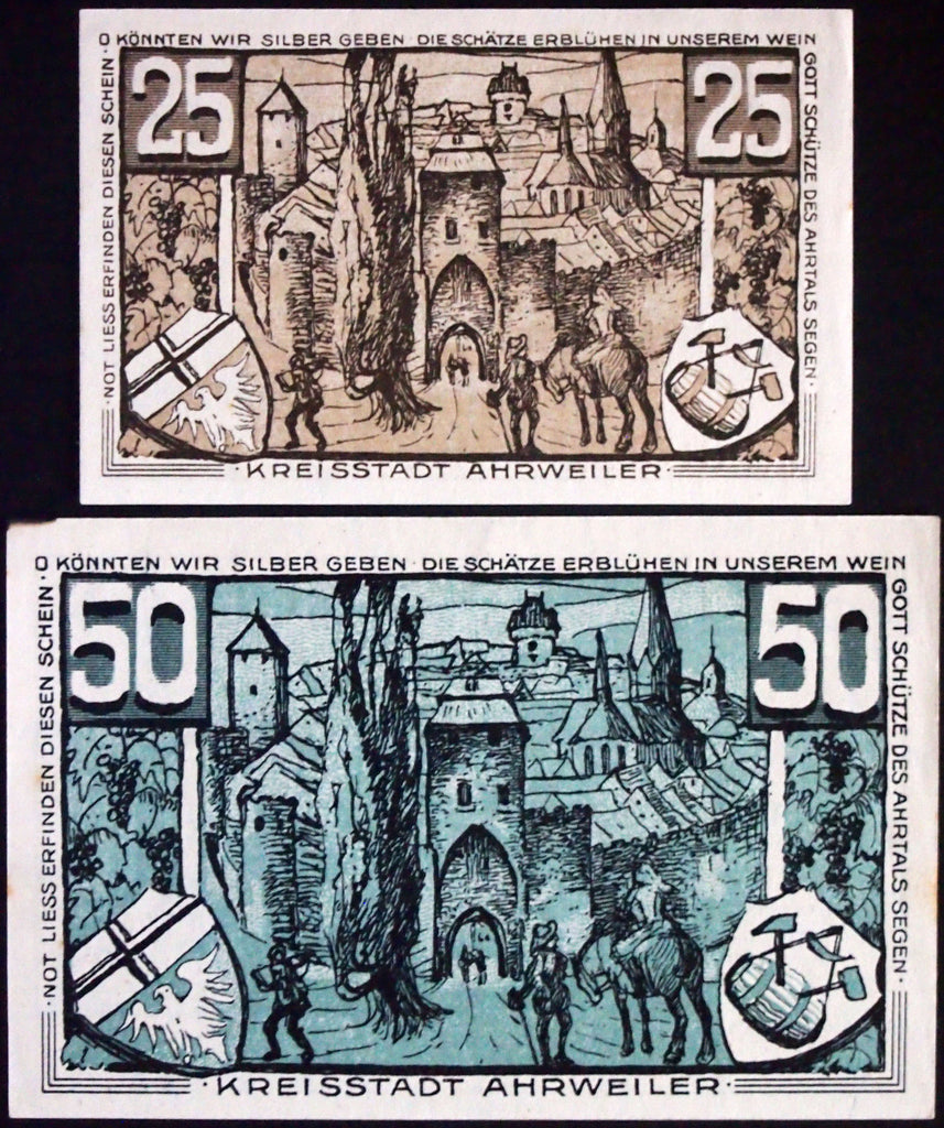 "AHRWEILER 1921 ""If Only We Could Give Silver"" complete blue-gray German Notgeld"
