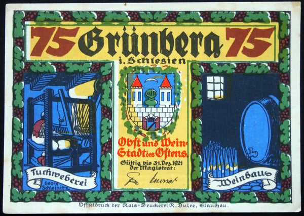 "GRÜNBERG 1921 ""Drinking With The Devil"" rare thin paper! 75 Pfennig #1 German Notgeld"