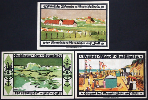 "WENNINGSTEDT on the Island SYLT 1921 ""Norddörfer Community"" complete series"